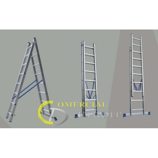 Escalera aluminio 2x8d comercial detroit for Escalera aluminio pequena